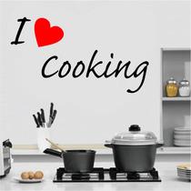 Adesivo Decorativo Parede Cozinha Geladeira I Love Cooking