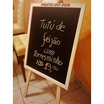 Cavalete+ Lousa Quadro Negro- Prato Do Dia /+ Apagador E Gís