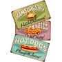 Kit 3 Placas Vintage Hot Dog Batata Hamburguer Retrô Cozinha