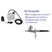 Kit Aerografia Completo Micro Compressor + Aerografo 0,2mm