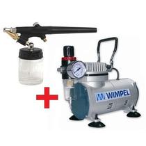 Kit Compressor C/filtro + Aerografo Mono Ação 0,3mm Wimpel