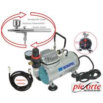 Compressor + Aerógrafo 0,3mm + Filtro/ Manômetro + Mangueira