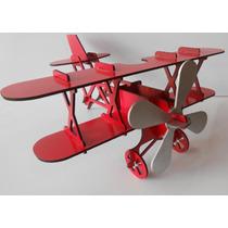 Avião Biplano Puzzle 3d - Mdf Crú- P/montar Barão Vermelho