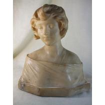 Escultura Busto Figura Feminina Alabastro - Assinada
