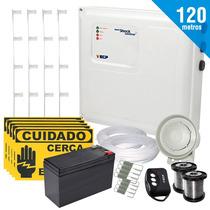 Kit Cerca Elétrica E Alarme Com Bateria P/ 120 Mts + Brinde