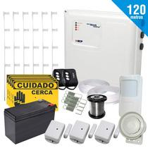 Kit Cerca Elétrica E Kit Alarme 120 Metros +bateria E Brinde