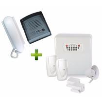Kit Alarme Discador, Bateria, 4 Sensores Sem Fio + Interfone