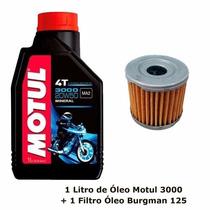 Kit Filtro De Óleo Suzuki Burgman 125 + 1 Óleo Motul 3000
