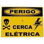Placa De Advertência (10 Unidades) Cuidado Cerca Elétrica