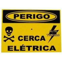 Placa Advertência: Perigo Cerca Elétrica Plástico2 Lado