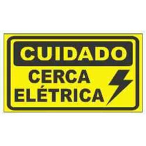 Placa Advertência: 2 Lados Perigo Cerca Elétrica Plástico
