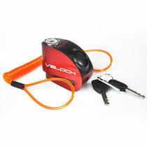 Trava Disco Moto Velock C/ Alarme E Led + Brinde