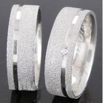 Par De Alianças Prata 950 Diamantada 5mm Reta Com 1 Friso