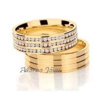 Par Alianças + - 14 Grs Ouro + Prata Diamantes Frete Grátis