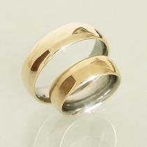 Par De Alianças Ouro 12k (500) Com Aço Casamento E Noivado