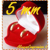 1 Aliança 5mm Anatômica Folheada De Ouro 18kl Antialérgica