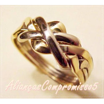 Puzzle Ring 10mm Aliança Turca Ouro 18k - 750 Un