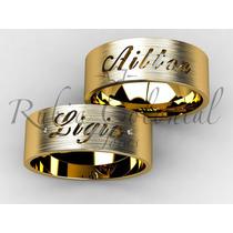 Par De Alianças Em Ouro 18k. Com Nome.2 Diamantes. Casamento