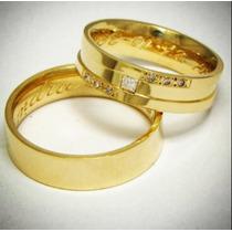 Par De Alianças Ouro 18k Prata 950 6mm Zirconias Casamento