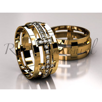 Alianças Ouro 18k E Diamantes Design Exclusivo! Casamento