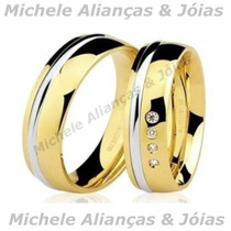 Par De Aliança Ouro 18k Brilhantes 6mm Casamento,noivado