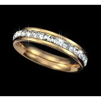 Anel Aliança Folheada Ouro Rose 18k Cristais Svarovski