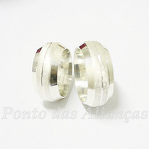Par De Alianças Prata 950 10mm Diamantadas Frete Grátis