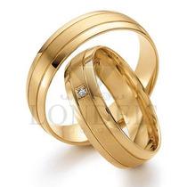 Par Alianças Ouro 18k 0,750 Anatômicas 6mm 12g C/ Diamantes