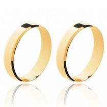 Par Aliança Casamento Quadrada Ouro 18k Com Quinas Quebradas