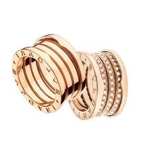 Anel Aliança Modelo Bvlgari Em Ouro 18k E Diamantes