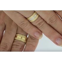 Par De Aliança De Ouro 18k 750 Com 14 Diamantes Com Garantia