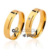 Par De Aliança Ouro 18k - 5mm/8grs - Com Diamante - Dc520