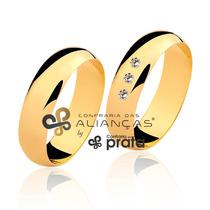 Par De Aliança Ouro 18k - 6mm/12grs - 03 Diamantes - Df601
