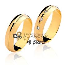 Par De Alianças 6mm 10 Grs Ouro 18k C/ Diamantes+ Gravação