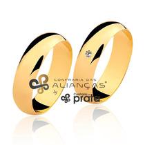 Par De Aliança Ouro 18k - 6mm/12grs - Com Diamante - Df601