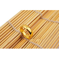 Aliança Tradicional De Tungstênio 8mm Folheada A Ouro 24 K