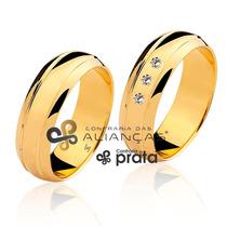 Par De Alianças 7mm 14 Grs Ouro 18k C/ Diamantes + Gravação