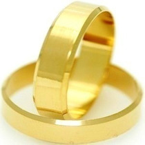 Par De Aliancas 4mm Chanfrada Em Ouro 18 Quilates