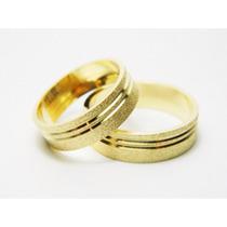 Par De Alianças Prata Banhadas A Ouro 18k 5mm