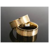 Par Aliança Ouro 18k Brilhantes Anatômica Noivado Casamento