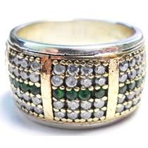 Promoção-ehv-anel Aliança Turquia Turco Prata 925 Esmeralda