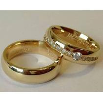 Par De Alianças Amor Amor Em Ouro 18k Mais Diamantes