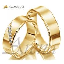 Par Alianças De Ouro 18k 5mm 12 Gramas 5mm Noivado Casamento