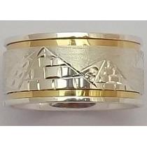 Anel / Aliança Escrava Em Prata Filete De Ouro 18k.+ Brinde
