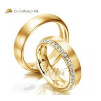 Par Alianças De Ouro 18k 5mm 14 Gramas 5mm Noivado Casamento