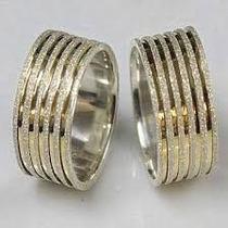Par Alianças 10mm Prata E Ouro (banho) P/ Noivado,casamento