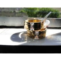 Aliança Compro. Casamento Em Aço Inox E Banho Em Ouro18k+bri