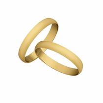 Par Aliança Em Ouro 18 K Lisa Meia Cana (o Par)