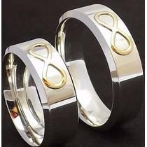 Par Aliança Compromisso 7mm Prata Simbolo Infinito Ouro 18k