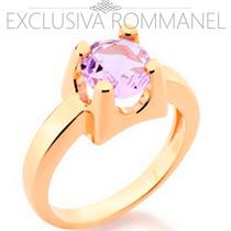 Rommanel Anel Aliança Folh Ouro 18k Solitário Cristal 511671